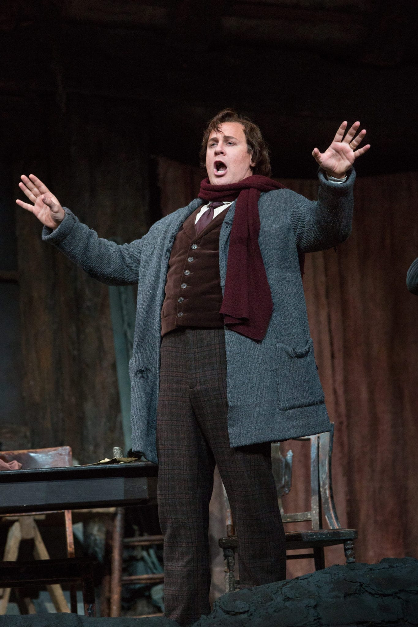Lucas Meachem as Marcello in La Boheme at the Metropolitan Opera